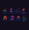 set neon profile pictures faceless avatars vector image vector image