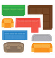 set of different sofas types for floor plan vector image