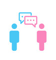 simple silhouette of two people with two chat vector image