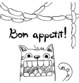 Sketchy cat with sausages bon appetit vector image vector image