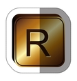 sticker golden square with currency symbol of rand vector image