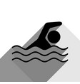 swimming water sport sign black icon with vector image vector image