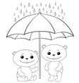 teddy bears and umbrella contours vector image