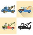 tow truck icon set in flat and line styles vector image