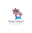 travel agency logo design palm tree vector image
