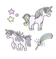 unicorn and magic wand element set vector image vector image
