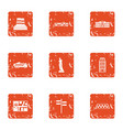 urban movement icons set grunge style vector image vector image