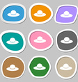 Woman hat icon symbols Multicolored paper stickers vector image