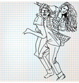 Young couple having fun sketch vector image