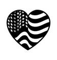 contour nice heart with usa flag inside vector image