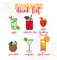 tropical cocktails and drinks vector image