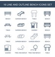 16 bench icons vector image vector image