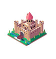 3d isometric medieval castle with open gate and vector image vector image