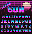 80s retro alphabet font template vector image vector image