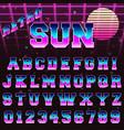 80s retro alphabet font template vector image
