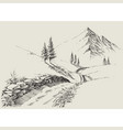 a narrow footpath in mountains alpine vector image vector image