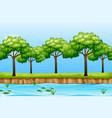 a nature river landscape vector image vector image