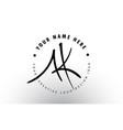ak handwritten letters logo design with circular