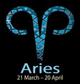 aries ornamental decorative zodiac sign vector image