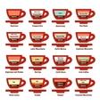 big coffee drinks set vector image