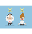 Business people meditating in yoga pose vector image vector image