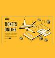 buying tickets online isometric website vector image vector image