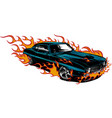 car muscle old 70s with flames vector image vector image