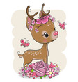 cartoon deer with flowerson a white background vector image vector image