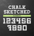 Chalk sketched numbers vector image