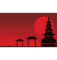 Chinese theme landscape of silhouettes vector image vector image