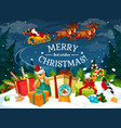 christmas gift and santa sleigh greeting card vector image vector image