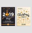 christmas party flyer design- golden design 2019 2 vector image