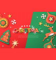 christmas web template paper cut decoration icons vector image