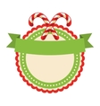 Circle Christmas Label Icon Flat with Candy Cane vector image