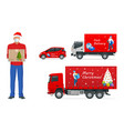 courier in a face mask with a box in his hands vector image