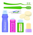 deodorant icons and toothbrushes with sponges vector image vector image