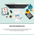 doctor workplace medicine icons set in flat vector image vector image