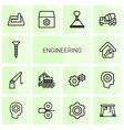 engineering icons vector image vector image