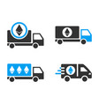 ethereum delivery car icon set vector image