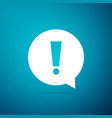 exclamation mark in circle icon on blue background vector image vector image