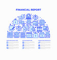 financial report concept in half circle vector image vector image