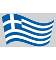 Flag of Greece waving on gray background vector image