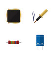 flat icon electronics set of cpu resistance vector image vector image