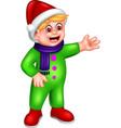 funny boy green suit cartoon vector image vector image