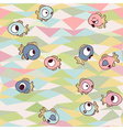 Funny fishes on seamless geometric background vector image vector image