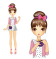Girl In Star Dress And Pullover vector image vector image