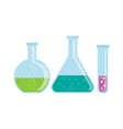 glass flasks with chemicals vector image