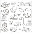 Hand drawn doodle Books Reading set vector image vector image