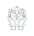 hands holding plant earth saving line icon vector image