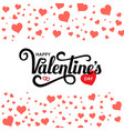 happy valentines day lettering isolated on white vector image vector image